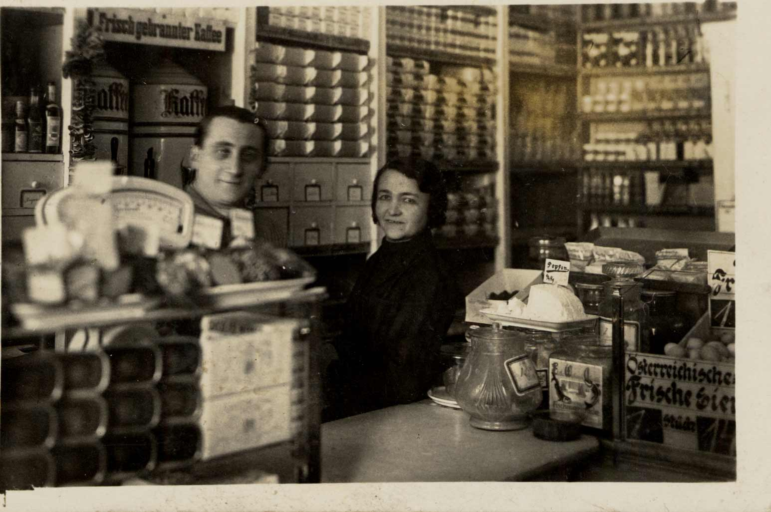 Salomon and Sara Heiss in their grocery store, Vienna, Austria, 1933.