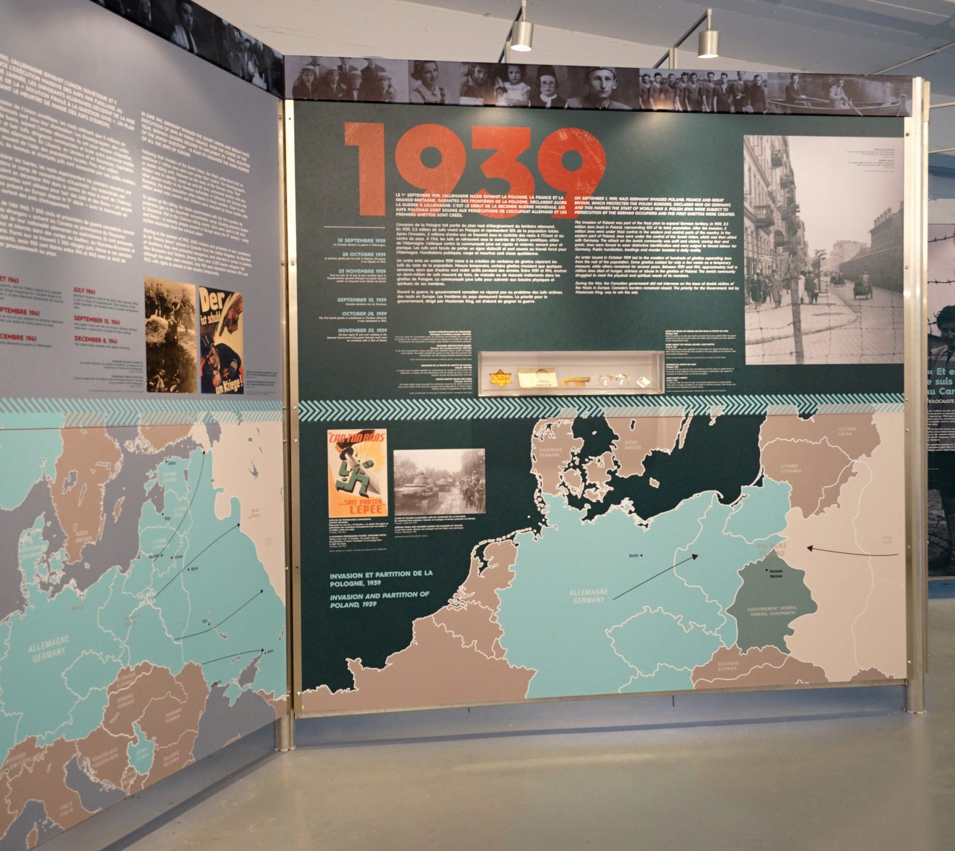 Aperçu du panneau 1939 : Début de la guerre et création des ghettos.