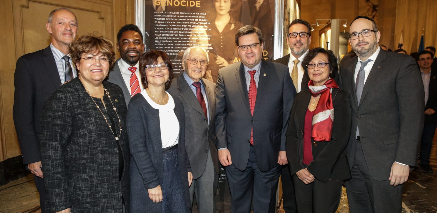 Opening of the Traveling Exhibition Ensemble Against the Genocide at the Montreal Holocaust Museum at the Montreal City Hall.