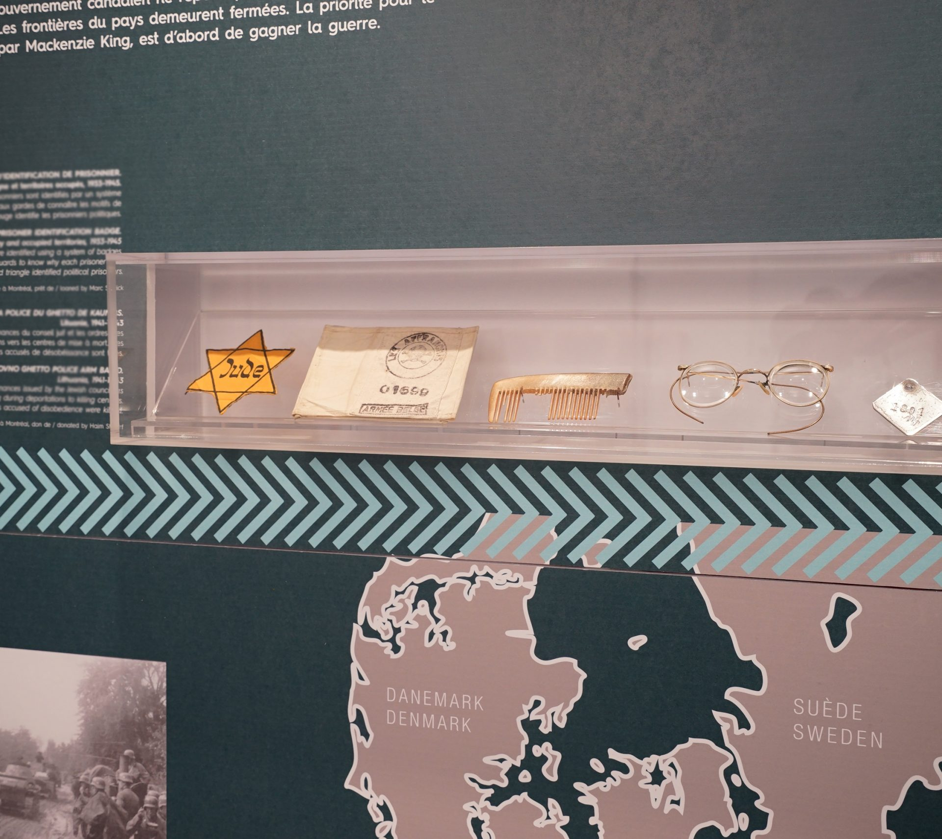 "A look at the second artefact display case in the travelling exhibition, ""And in 1948, I came to Canada"": The Holocaust in Six Dates."""