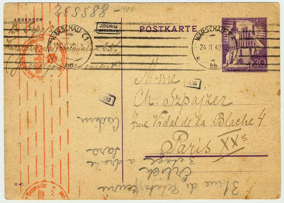 Postcard sent from Warsaw ghetto (Poland) to Paris (France) on February 19, 1942. Language: Polish.