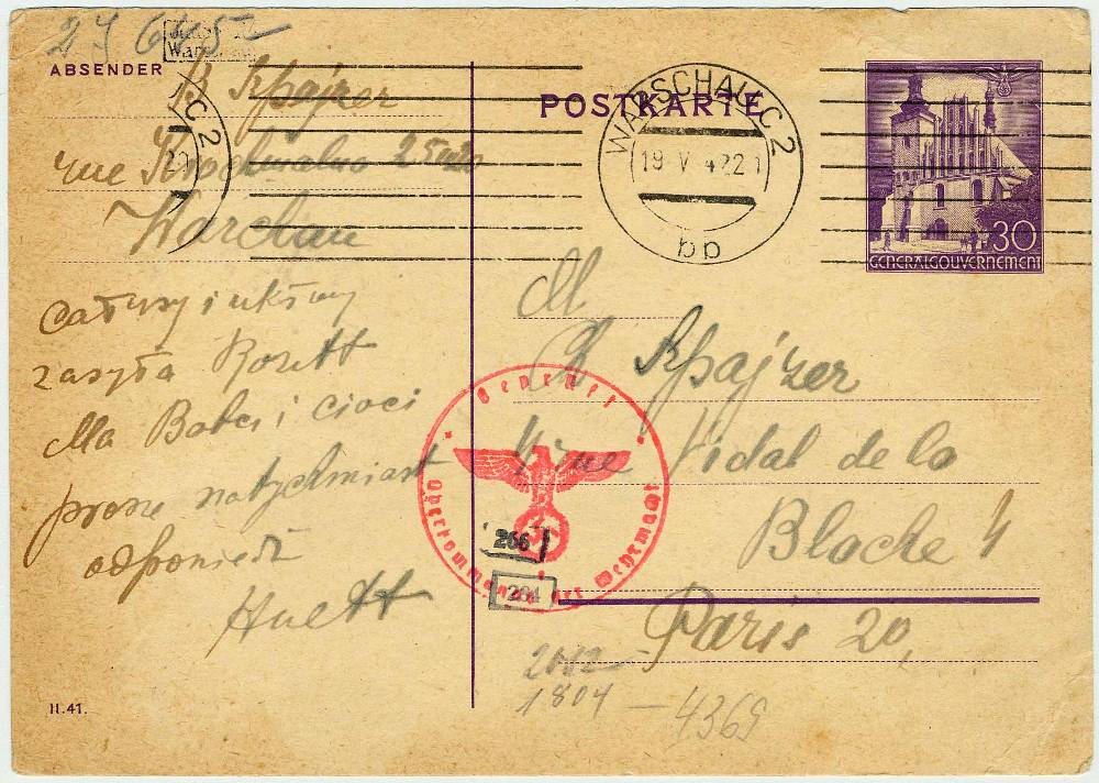 Postcard from Warsaw (Poland) ghetto to Paris (France) sent on May 18, 1942. Language: Polish.