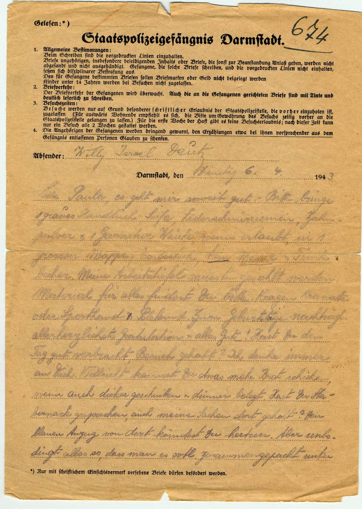 Letter from Willy Deutz, State Police jail, Darmstadt, Germany, April 6, 1943.