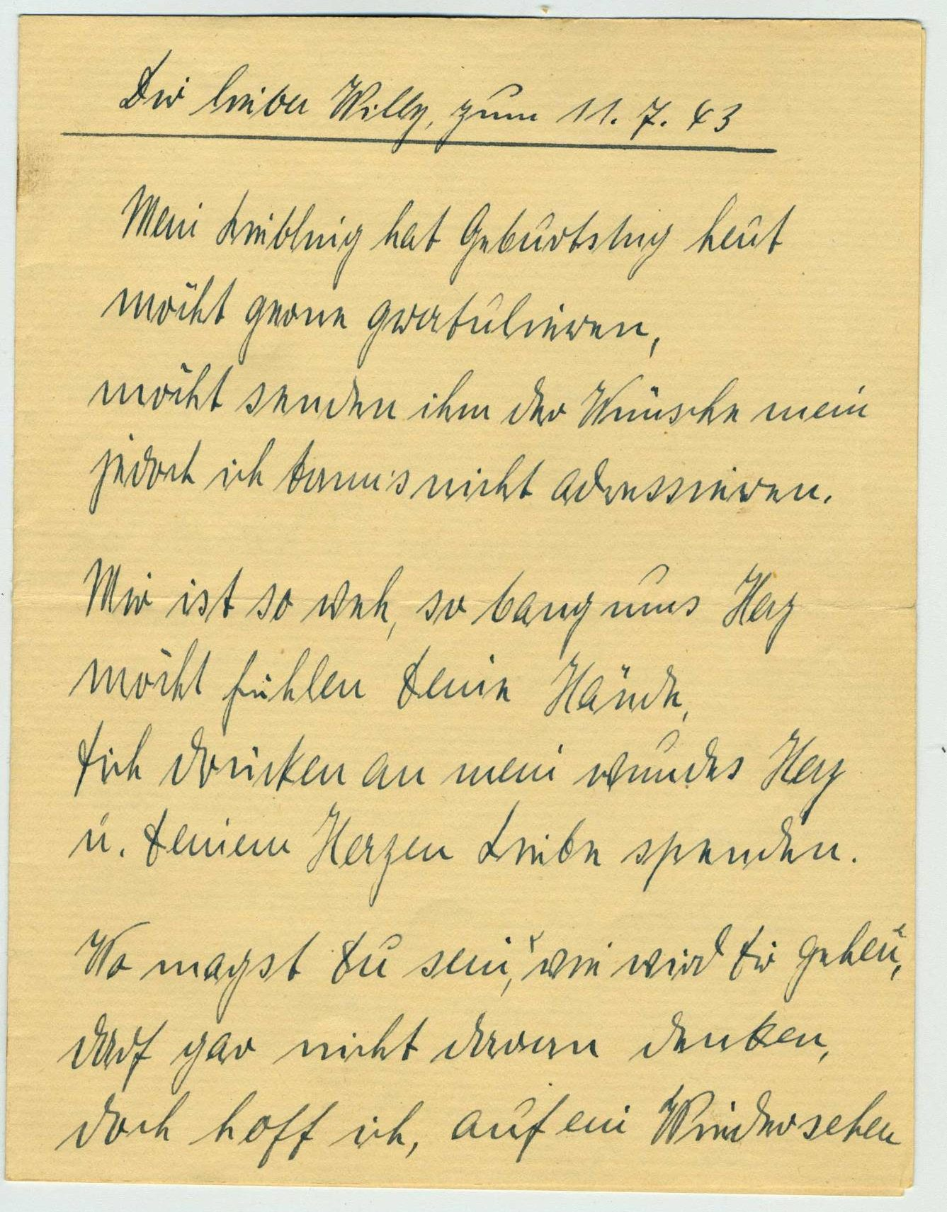 Letter from Paula to her husband for his birthday, Offenbach am Main (Germany), July 11, 1943.