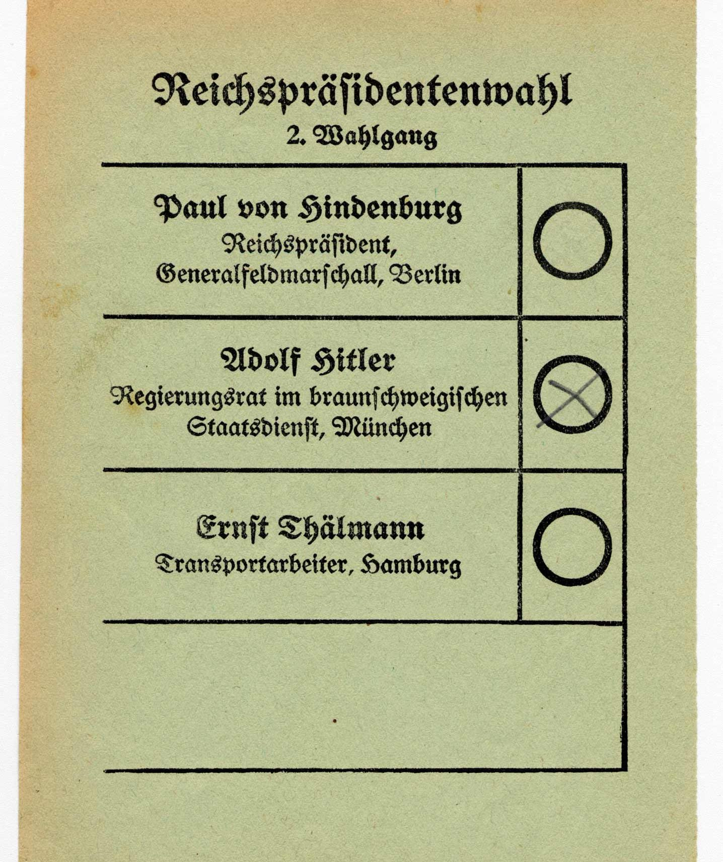 1932 election ballot in Germany showing a vote for Adolf Hitler