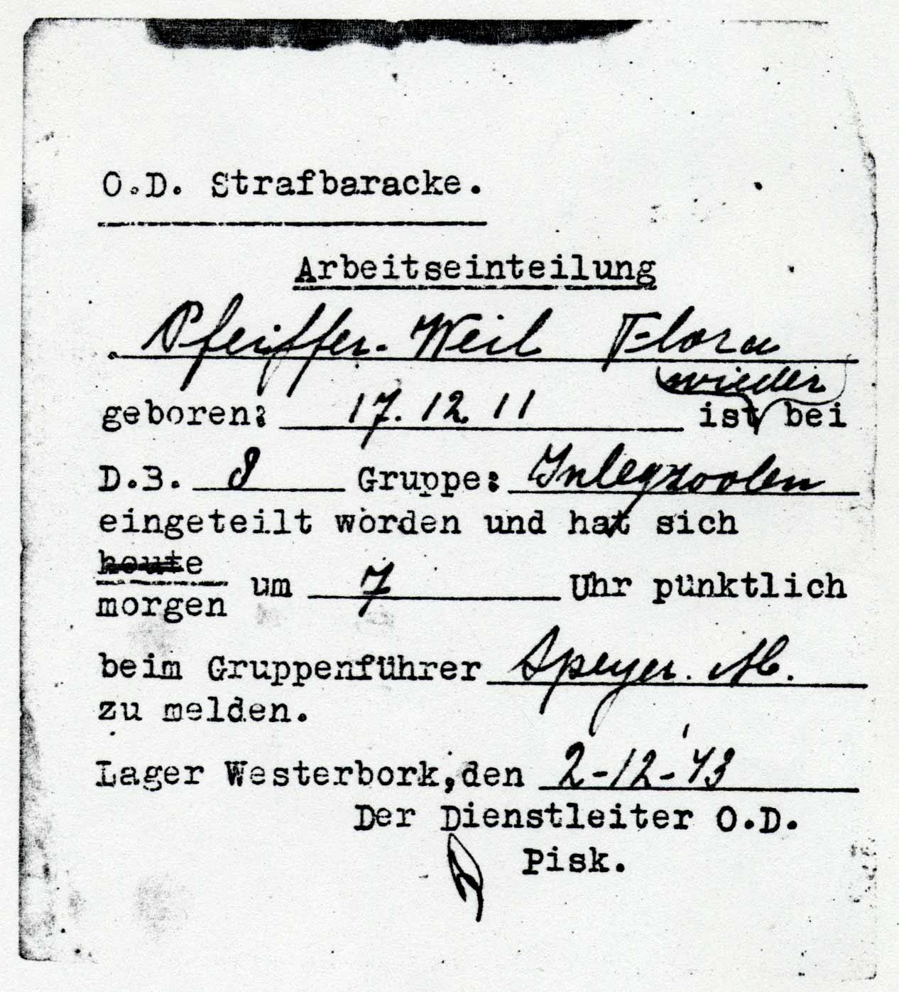 Permis de travail dans les blocs punitifs de Westerbork pour Flora Pfeiffer; daté du 2 décembre 1943. Source: MHM