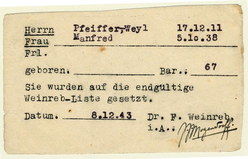 Formulaire certifiant l'adhésion de Fred Pfeiffer à la liste d'exemption daté du 8 décembre 1943. Source: MHM