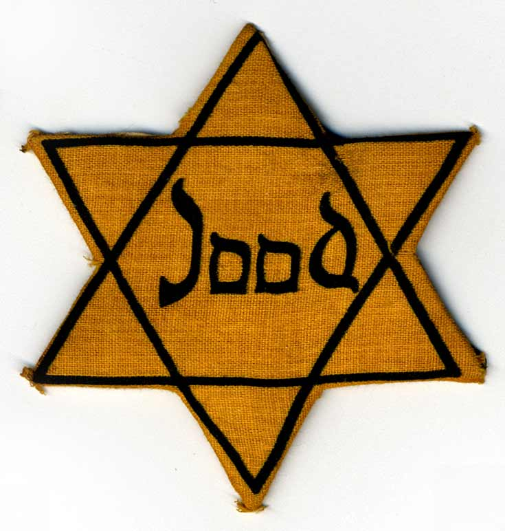 Yellow star worn by Flora Pfeiffer in Westerbork and Bergen-Belsen.