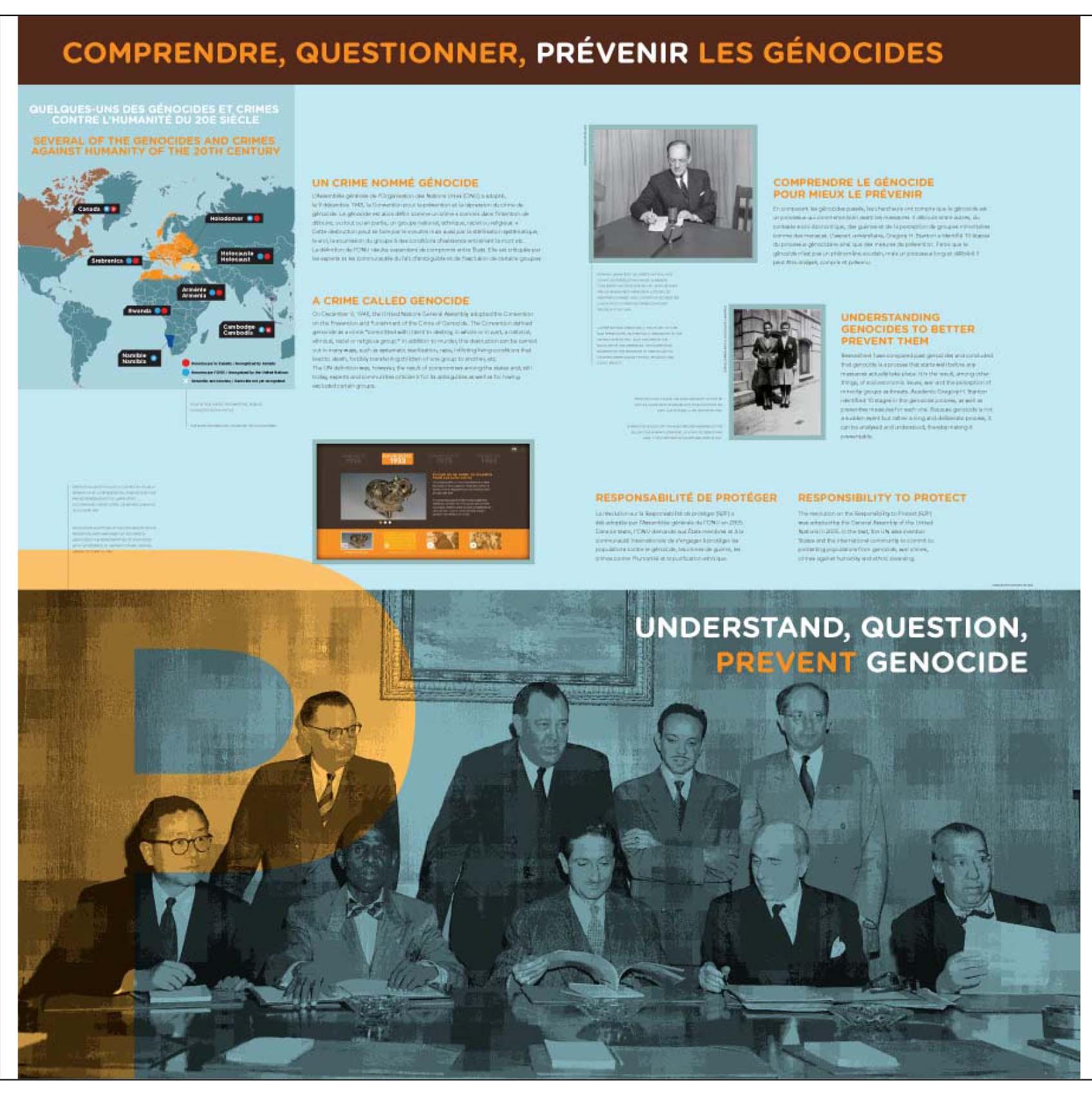 """Aperçu du 1e panneau de l'exposition itinérante """"Ensemble contre le génocide : comprendre, questionner, prévenir"""""""