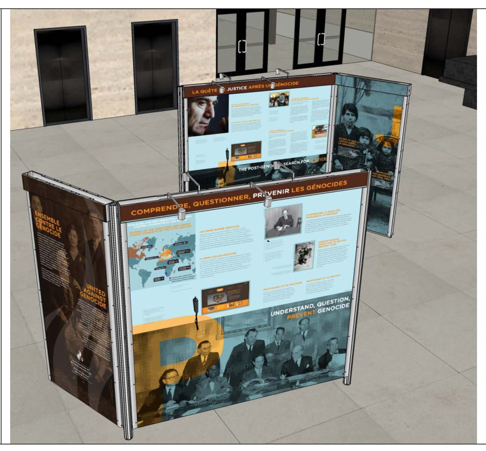 "A look at the travelling exhibition, ""United Against Genocide: Understand, Question, Prevent."""