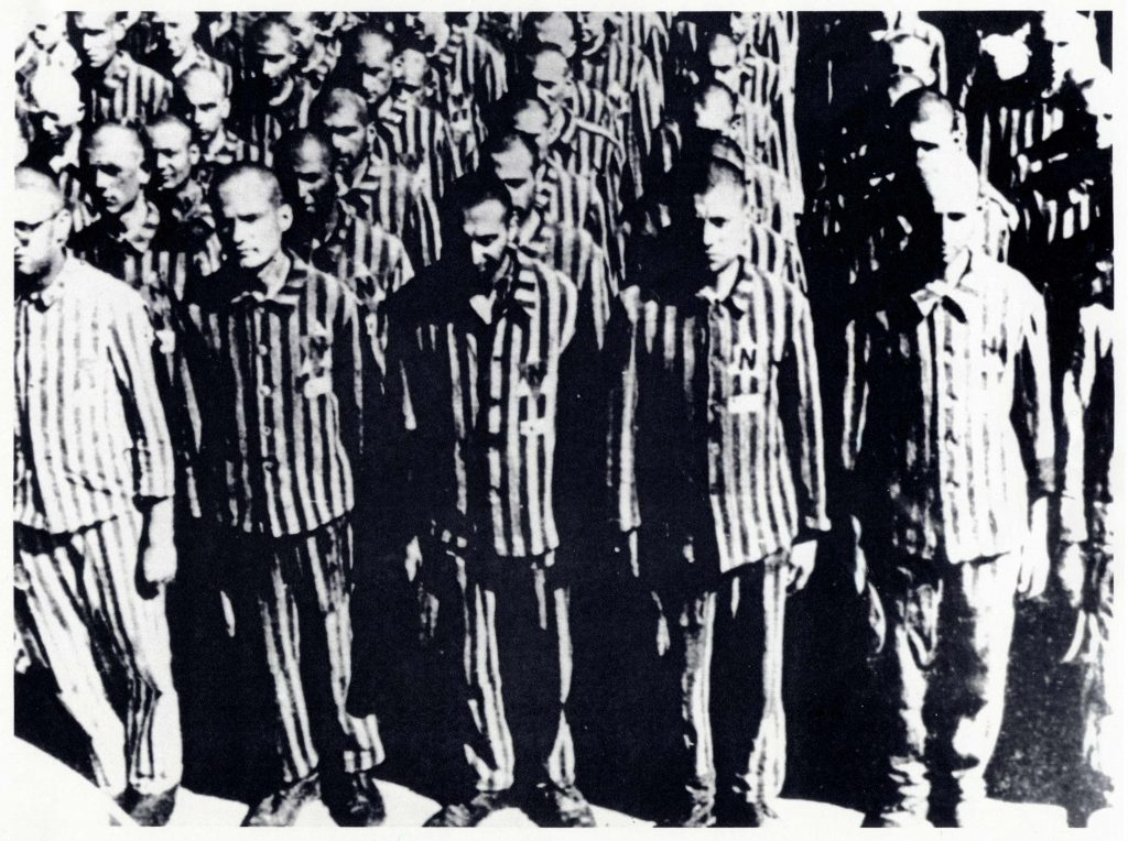 Photo of Dutch Jews standing during roll call at Buchenwald concentration camp, February 28, 1941.