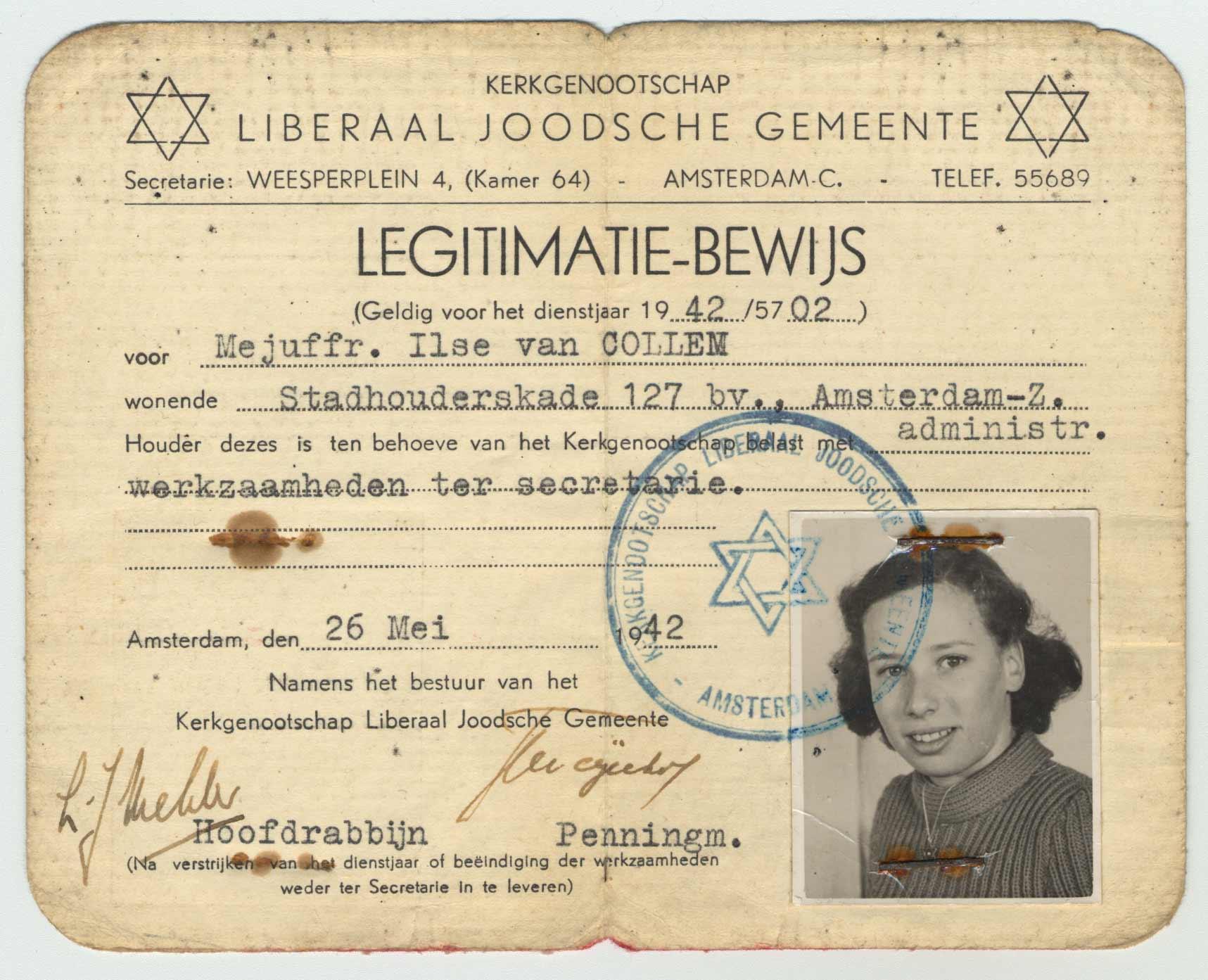 Carte d'identité et permis de travail d'Ilse van Collem délivrés par la Congrégation libérale juive, 26 mai 1942.