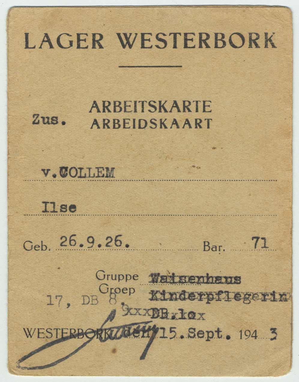 Work permit of Ilse van Collem at Westerbork, August 15, 1943.