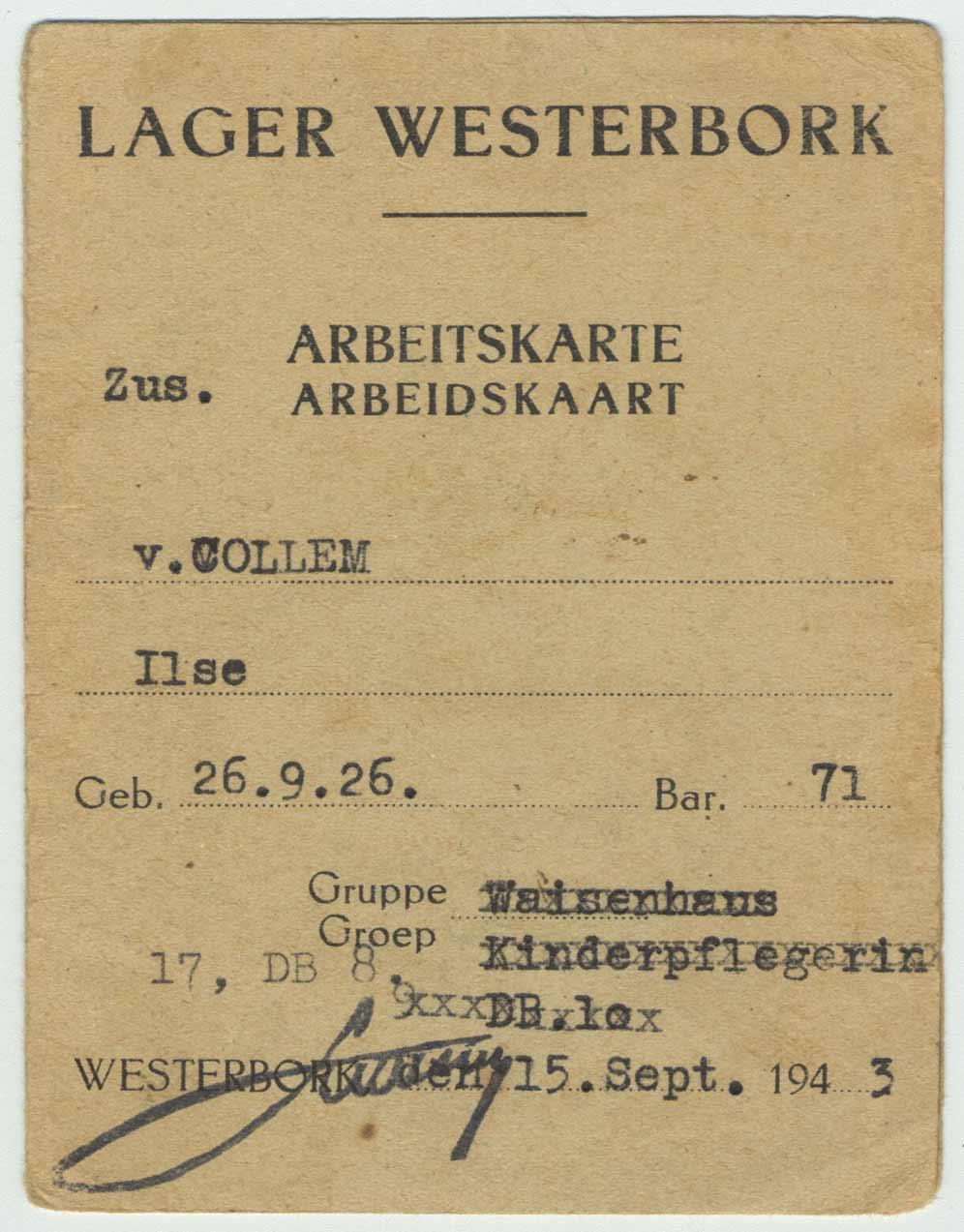 Permis de travail de Westerbork pour Ilse van Colleml, 15 août 1943.