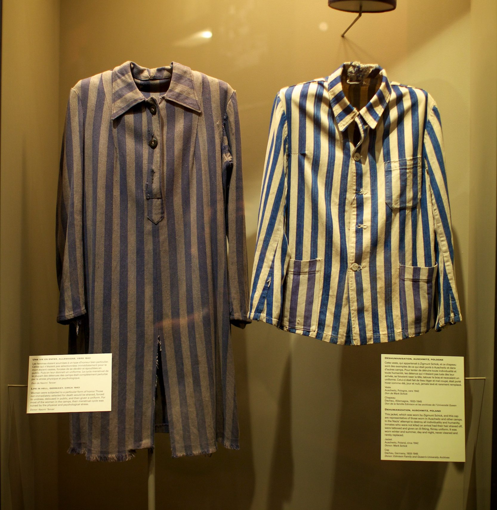 Prisoner uniforms worn by Zigmund Schick in Auschwitz and Sonia Aronowicz in a concentration camp. Poland, 1942-1945.