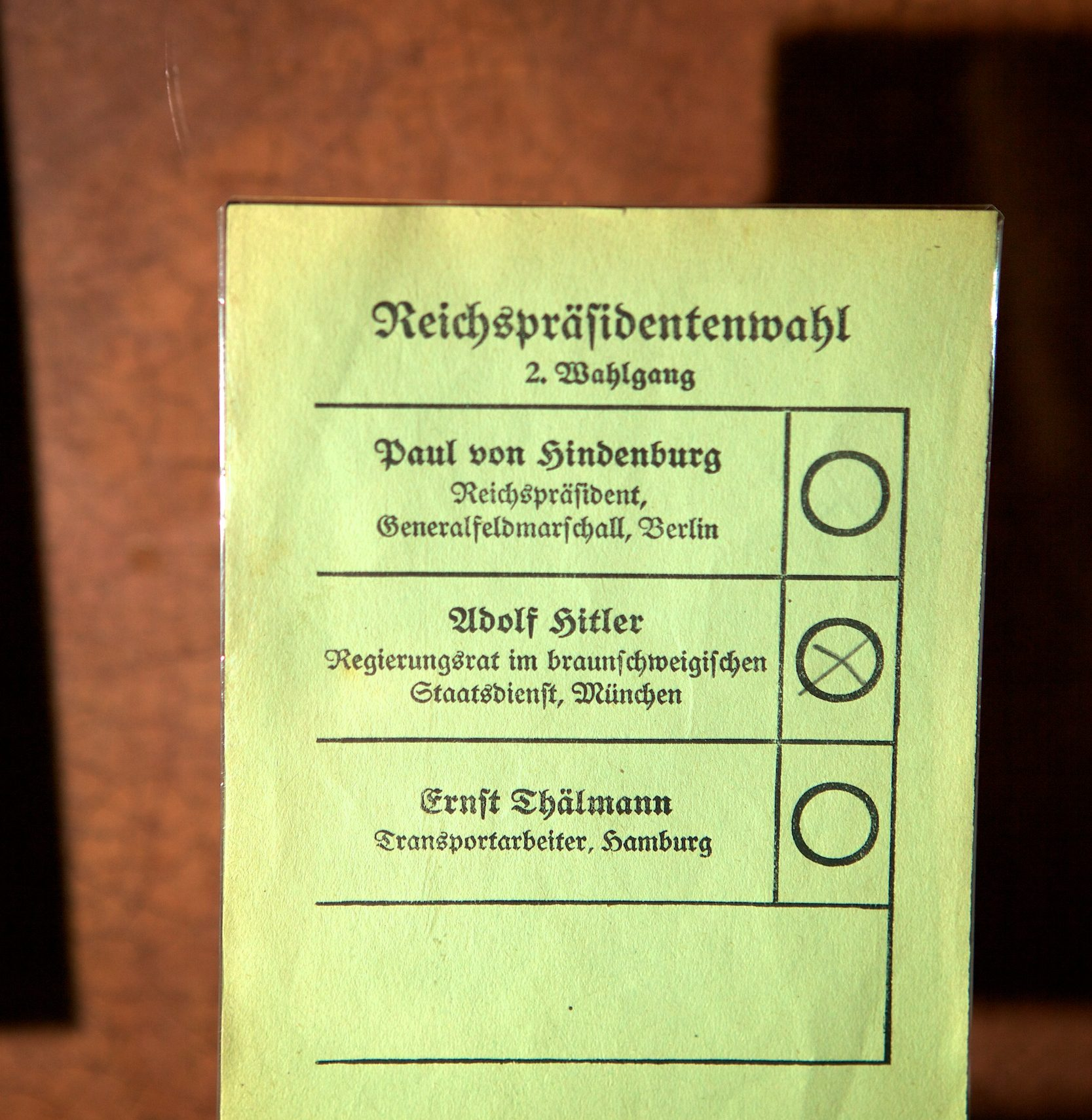Voting ballot for the 1932 presidential election. Germany, 1932.