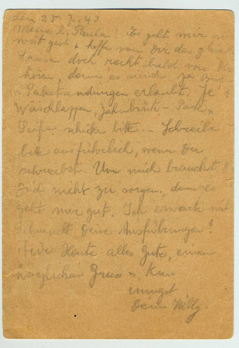 Postcard addressed to Paula Deutz, Offenbach am Main (Germany), from husband Willy interned in Birkenau concentration camp (Poland).Language: German.