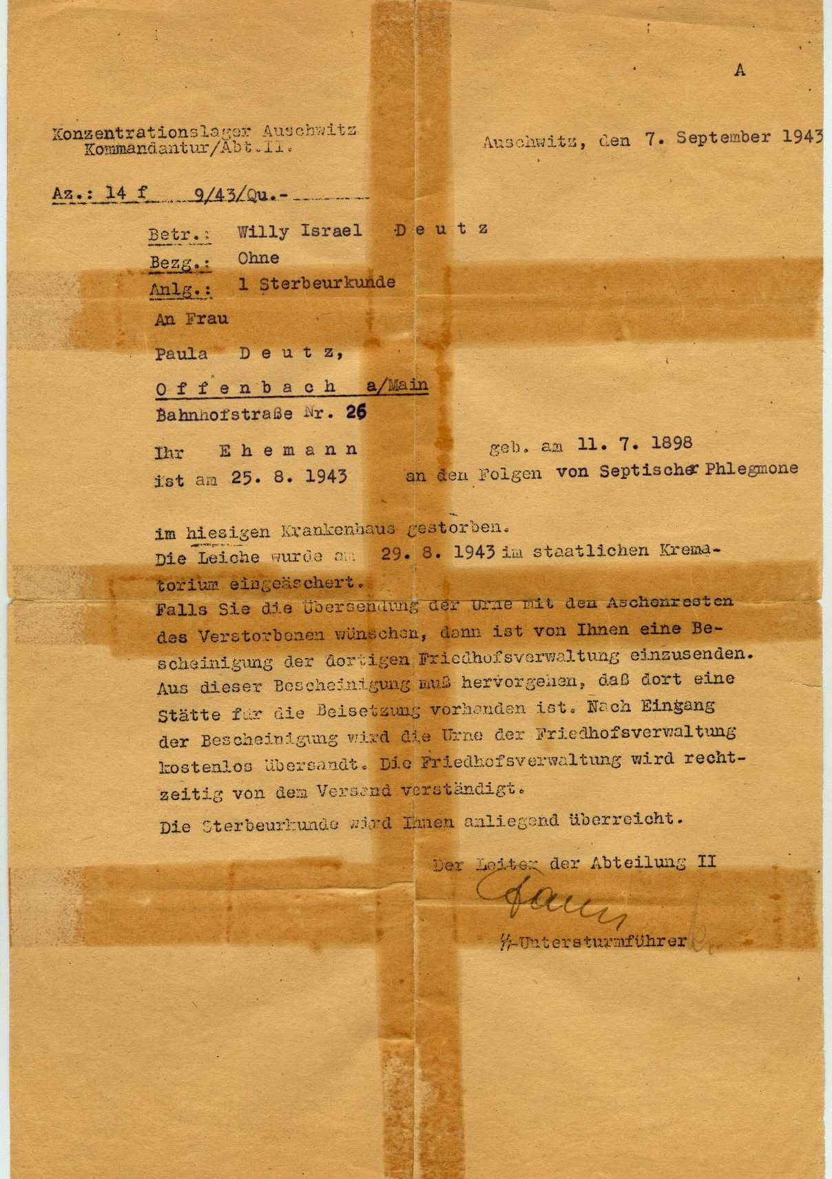 Death notice for Willy Deutz, Auschwitz concentration camp (Poland), September 7, 1943. Language: German.