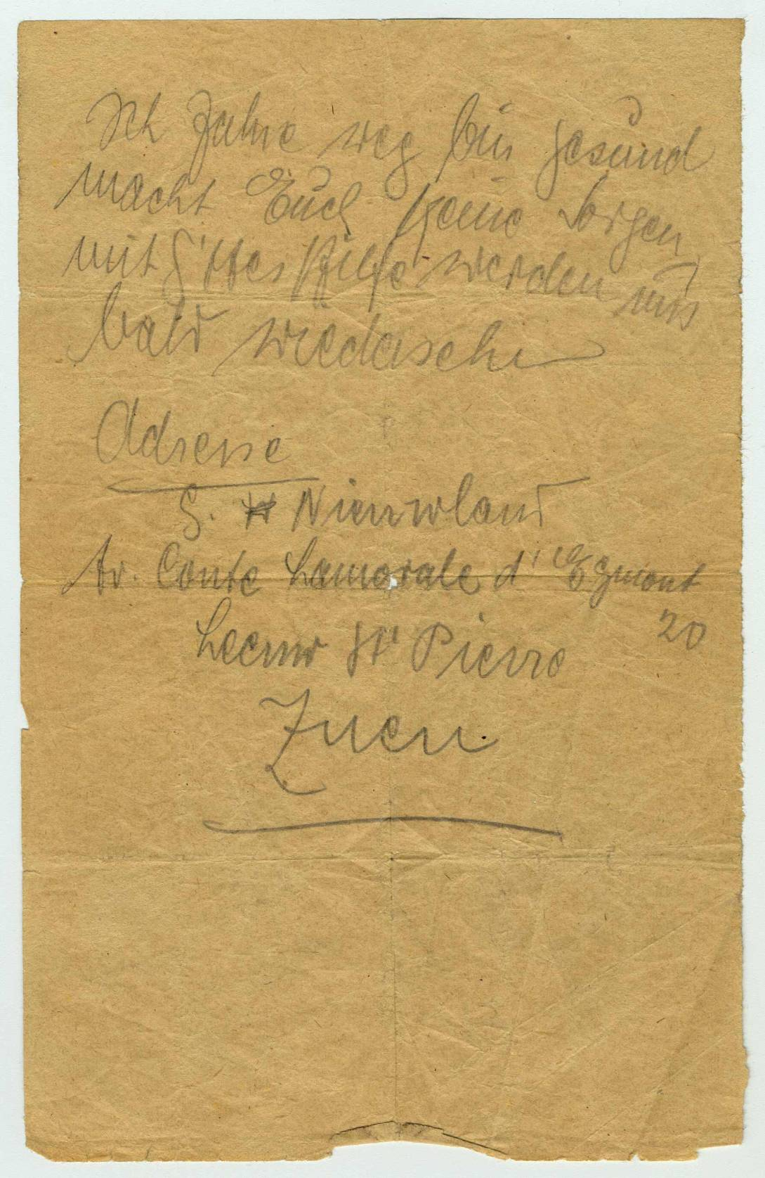 Letter written by Bella Kaminski from the train deporting her to Auschwitz, date unidentified, Belgium. Language: German.