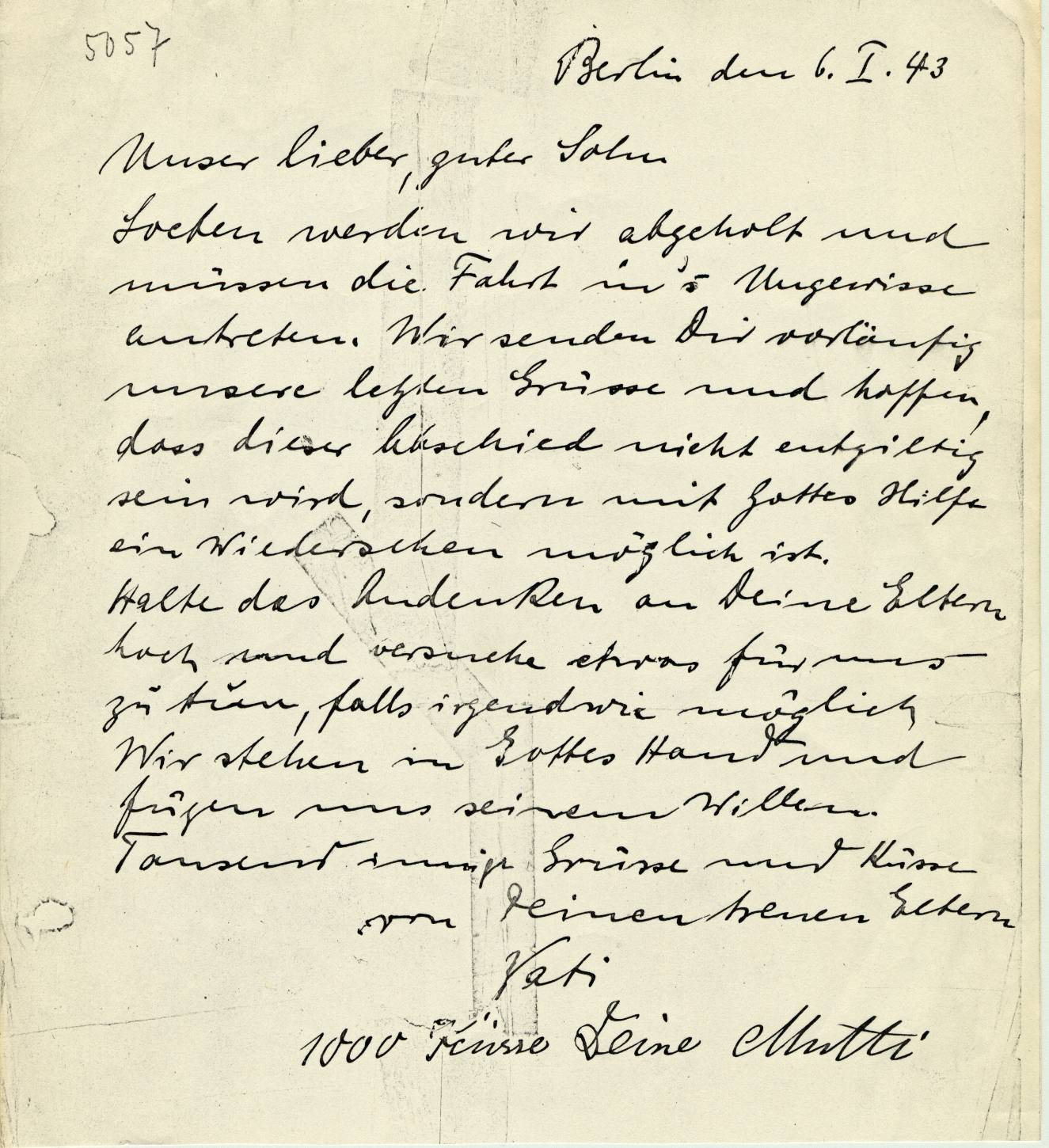Last letter sent to Lothar Lewin in the internment camp of Sherbrooke (Canada) from his parents in Berlin (Germany), January 6th 43. Language: German.