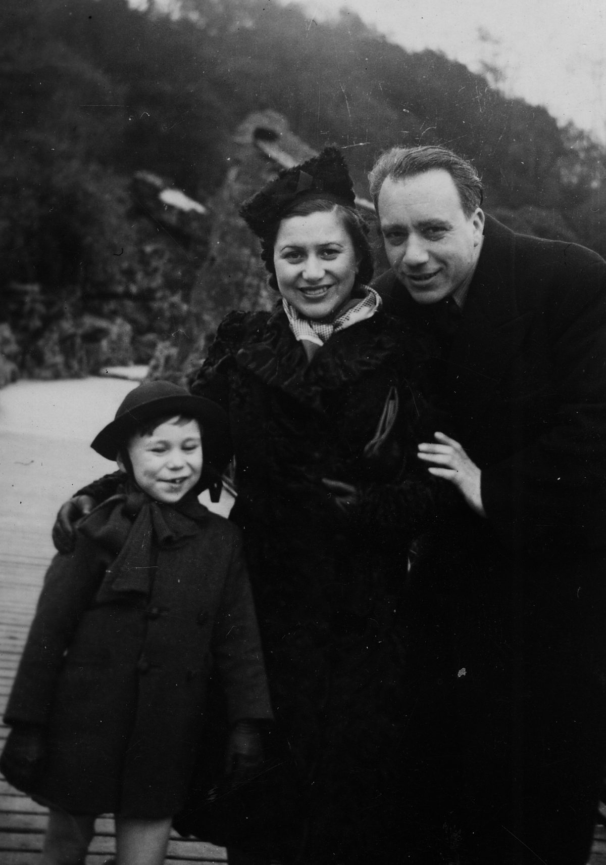 Elie Dawang and his parents, Paris, 1938.