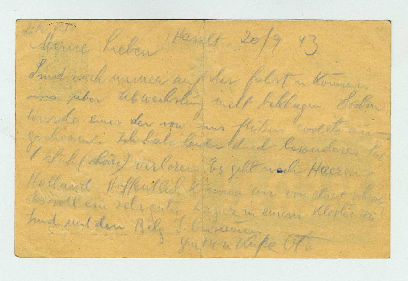 Postcard written by Otto Bondy to his children, Malines transit camp (Belgium), September 20, 1943. Language: German.