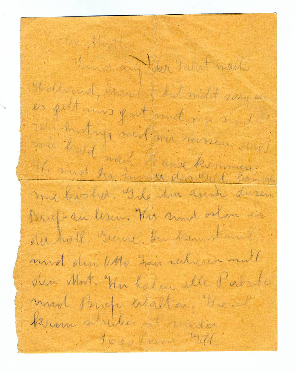 Letter written by Gretl and Otto Bondy, September 22, 1943. Language: German.