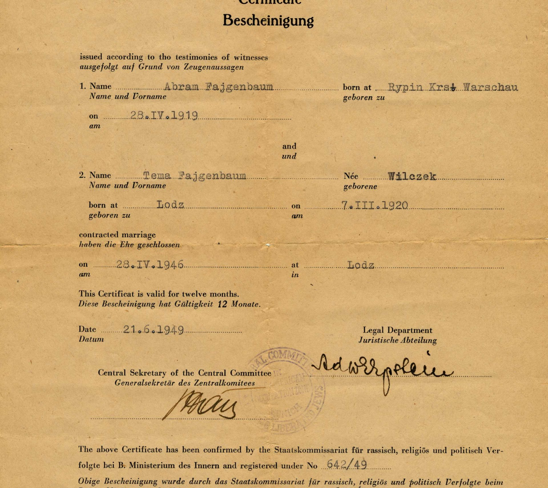 Wedding certificate of Avrum and Tola Feigenbaum, who were married in Lodz in 1946.