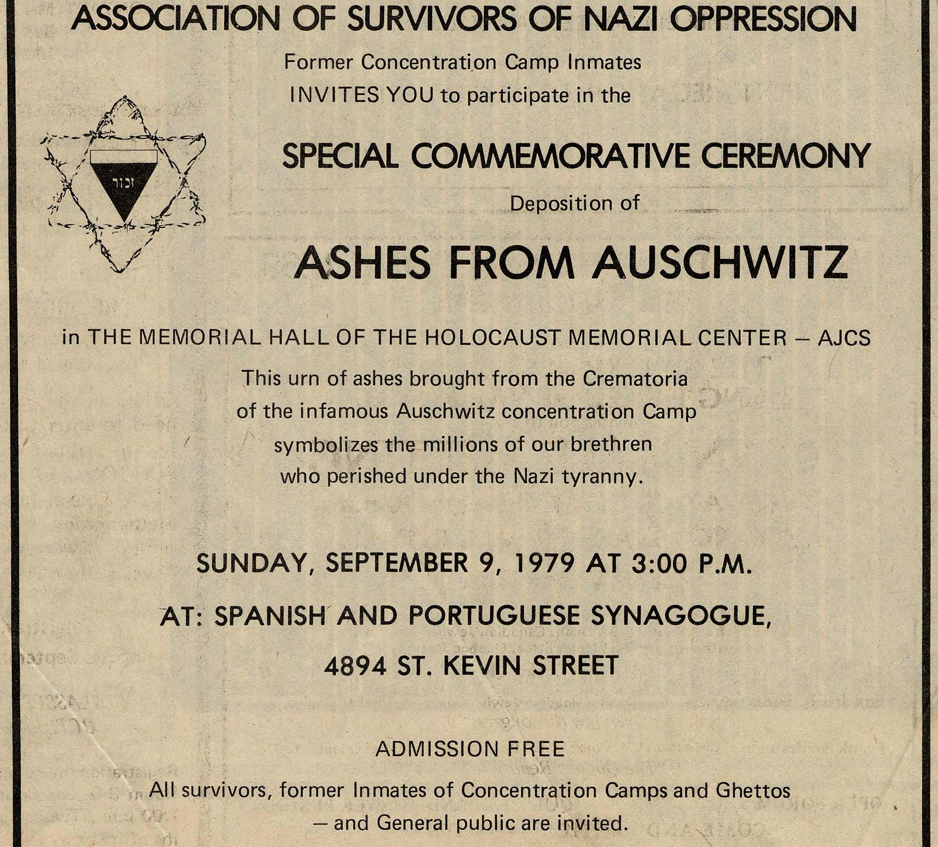 Page from The Montreal Gazette announcing the march organized by the Association of Survivors of Nazi Oppression on September 9, 1979.
