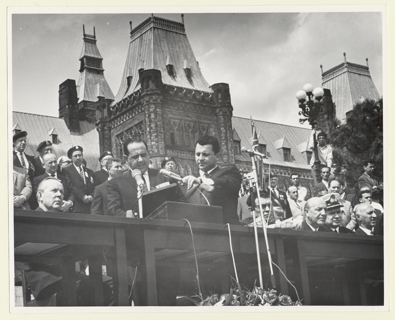 Lou Zablow speaking during a Holocaust commemoration rally in Ottawa in 1965.