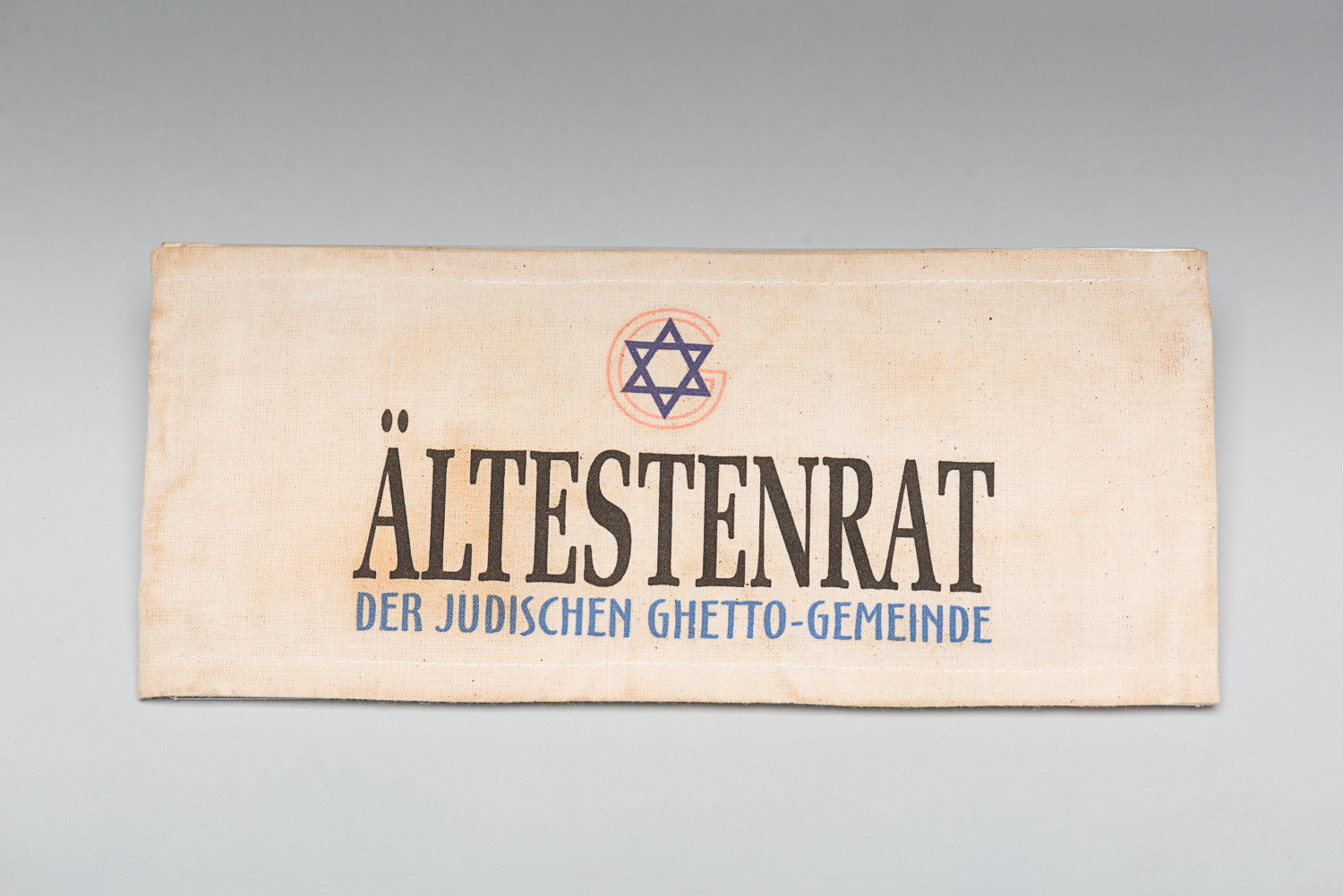 "This armband was used to identify members from the Ältestenrat, the ""Council of elders"" of Kovno's ghetto in Lithuania. (Photo: Peter Berra)"