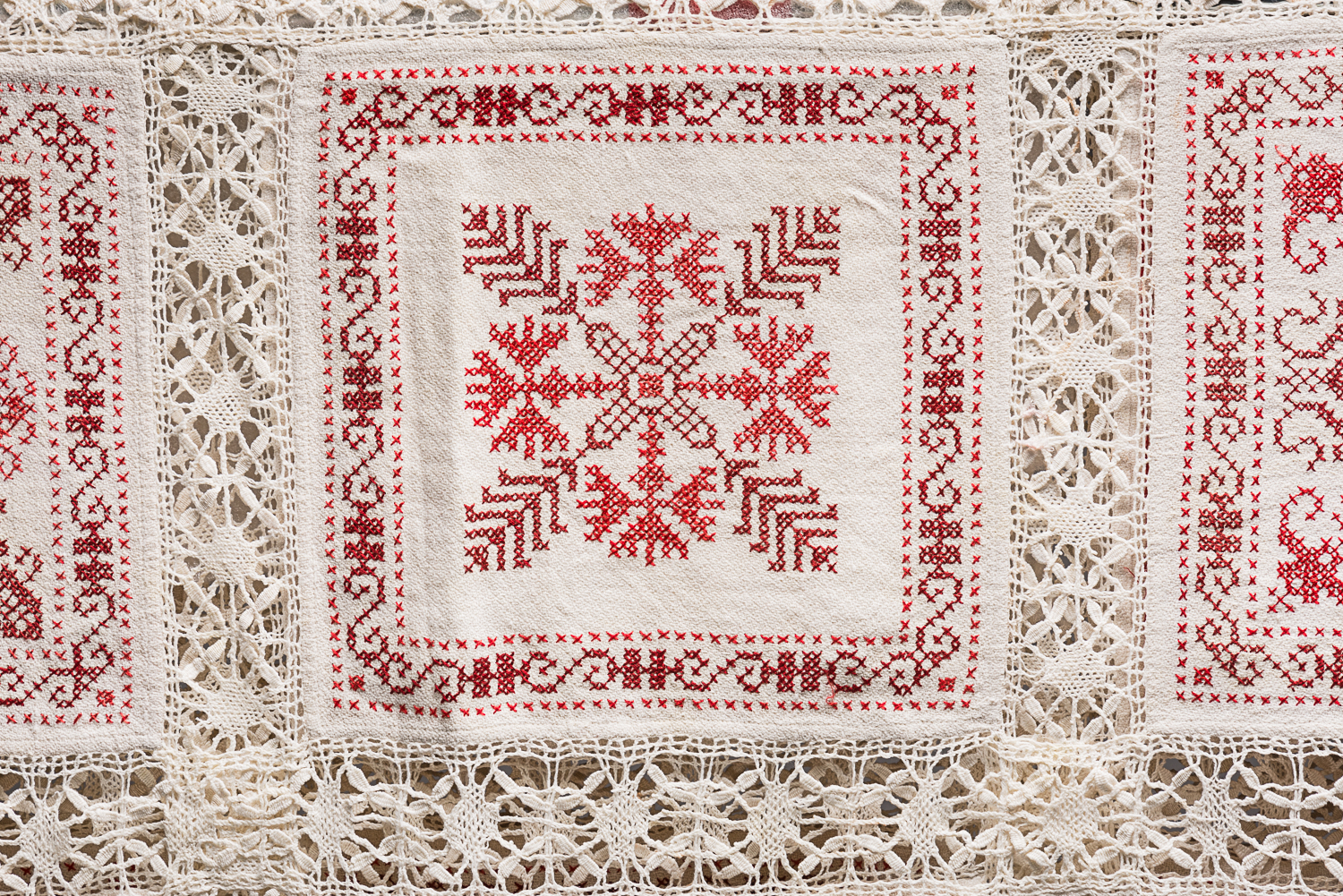 The girls wove the linen, embroidered the squares, and created the lace by hand. (Photo: Peter Berra)