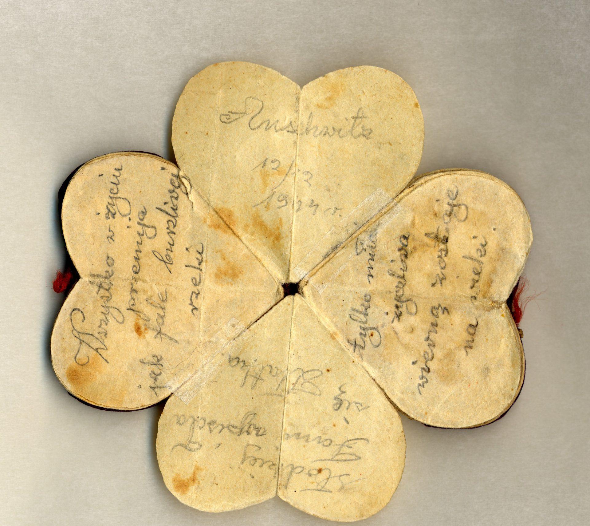 «Dans la vie toute passe comme une vague dans une rivière tulmutueuse. Seul le vrai amour reste fidèle pour toujours. Amour, À ma chère Fani. Écrit par Zlatka, Auschwitz, 12/XII/1944».