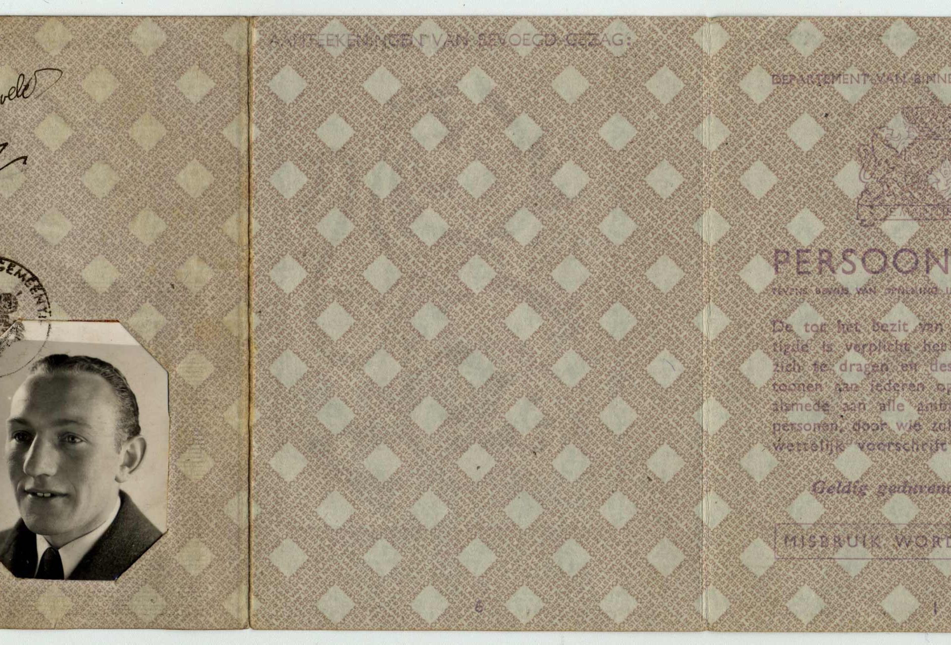 "David Kropveld Dutch Identity Card stamped with a ""J"" for Jew."