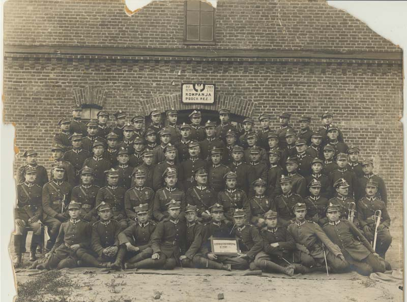Photograph of officers of the Polish army. Nathan is pictured sixth from the left, second row from the top.