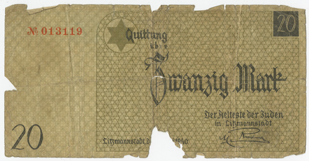 This paper currency was used exclusively in the Litzmannstadt ghetto, the German name given to the Lodz city ghetto in Poland.