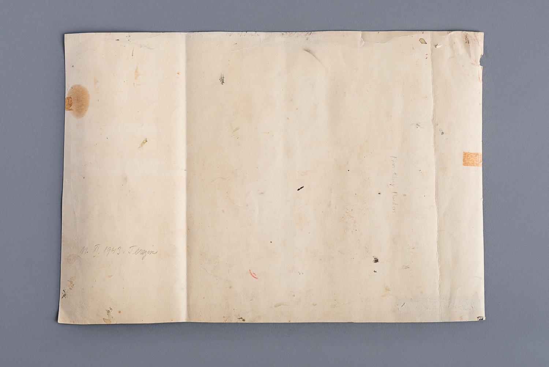 """Inscription """"11/XI/1943, Terezin"""" au verso de l'oeuvre. (Photo : Peter Berra)"""