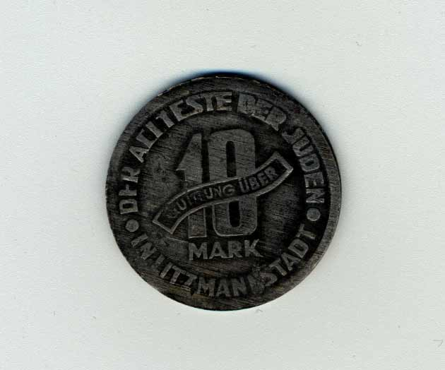 Ten-mark coin from the Lodz ghetto