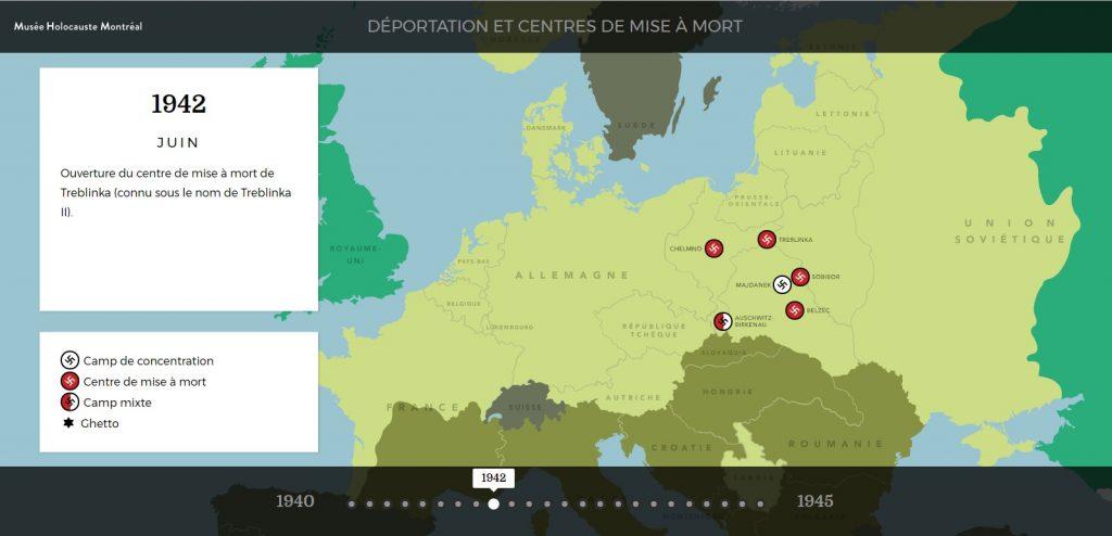 Carte des déportations et centres de mise à mort durant l'Holocauste.