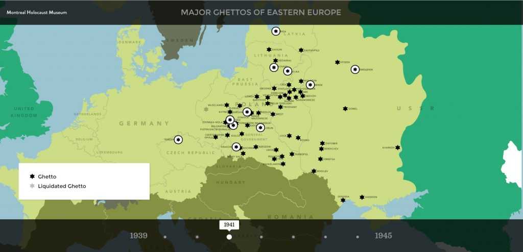 Map of major ghettos during WWII