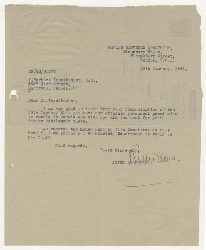 Letter from the Jewish Refugees Committee congratulating Herbert for obtaining his Canadian citizenship in 1946.