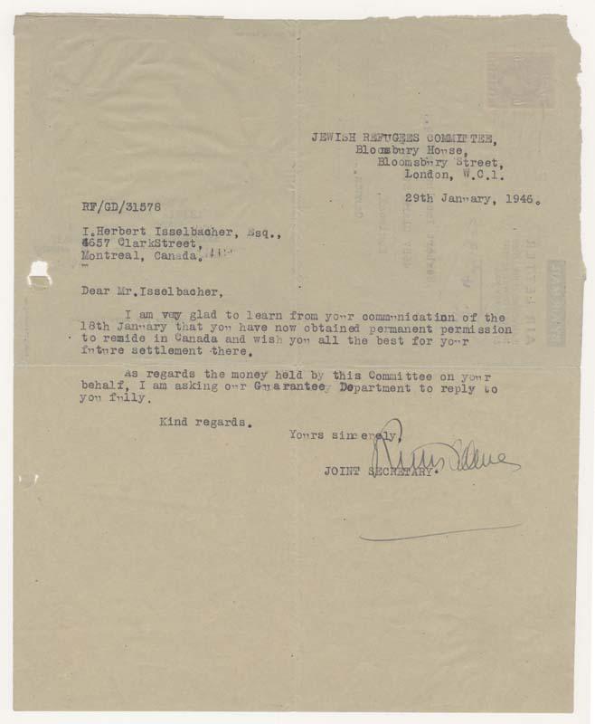 Une lettre reçue du Jewish Refugees Committee le félicitant d'avoir obtenu la permission de demeurer au Canada.
