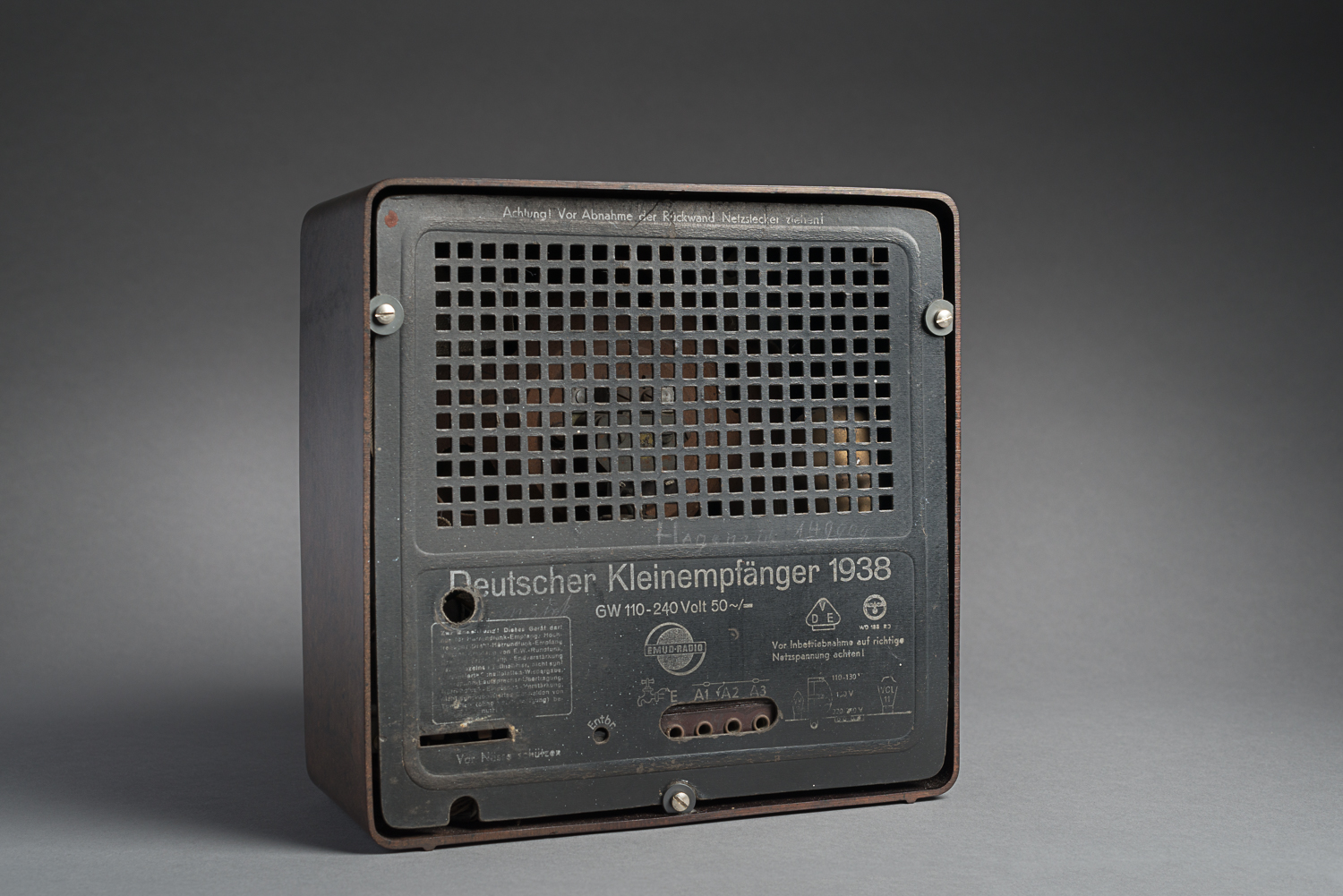 "Made of bakelite plastic, it is a miniature of the VE301 radio, also known as the Volksempfänger or ""People's radio"". (Photo: Peter Berra)"