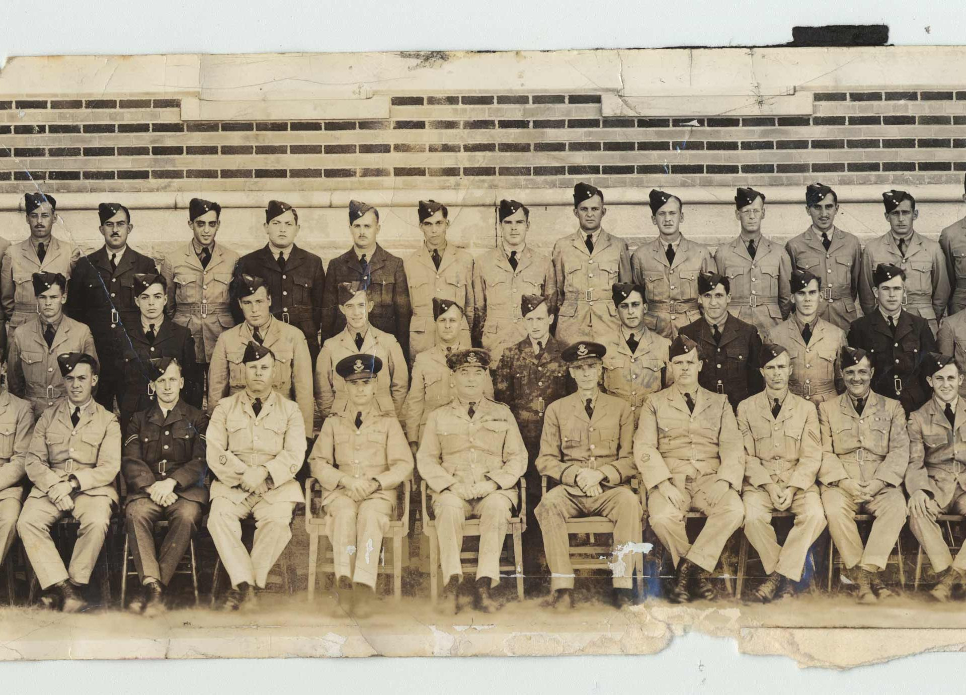Saul Stein, second row, 5th from right, and his colleagues of the Canadian Royal Air Force in 1945.