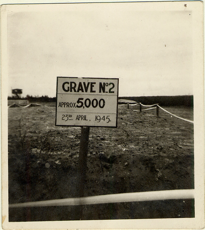 Photograph of a mass grave in Bergen-Belsen containing approximately 5,000 corpses.