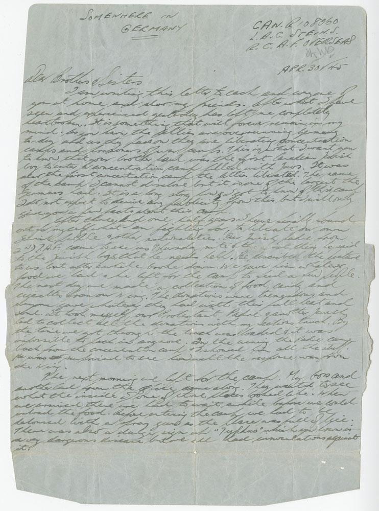 Le 30 avril 1945, Saul Stein écrit cette lettre à sa famille à Montréal.