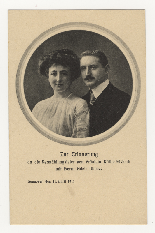 Käthe and Adolf Maass' wedding announcement in 1911. They were killed in Auschwitz in 1944.