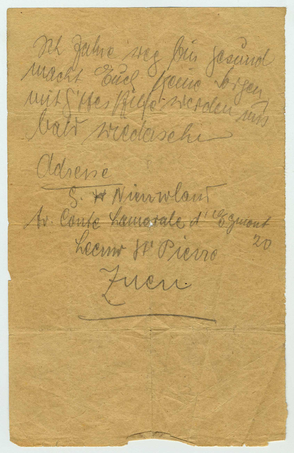 "This note was written from a deportation train by Bajla Kaminski. In the message, she wrote: ""I'm leaving, am healthy. Don't worry with the help of God we will soon see each other again."""