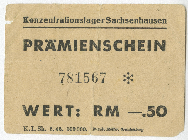 This coupon for 0.50 Reichsmark is from Sachsenhausen Camp in Germany. The coupon is numbered 751567.