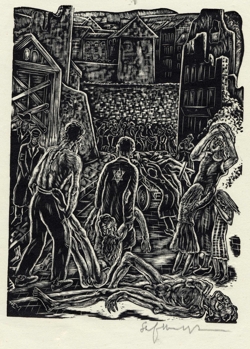''Death Stalks the Streets'', woodcut print by Stefan Mrozewski